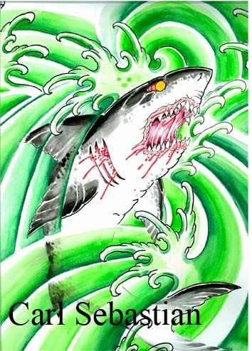 Art Galleries - shark water color  - 77502