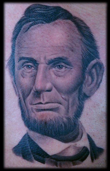 Tattoos - Realistic black and grey Abraham Lincoln tattoo.  - 74711