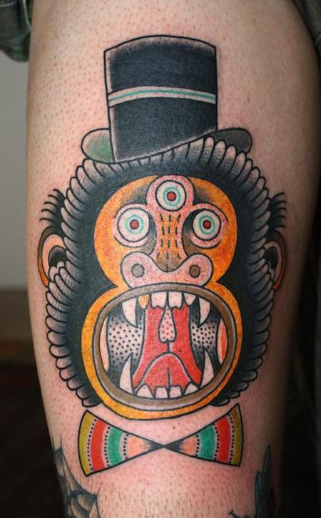 tattoos/ - Traditional Style Monkey Tattoo - 61596
