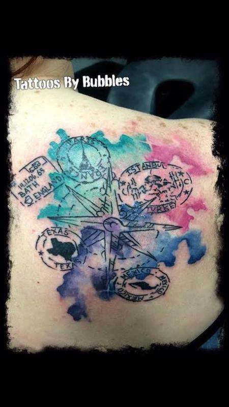 tattoos/ - Water Color Passport with Compass  - 125084