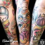 Lucky Cat (Maneki Neko) and Geisha Tattoo Design Thumbnail
