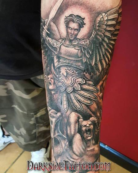 Religious Devil - Black and Gray St. Michael Tattoo