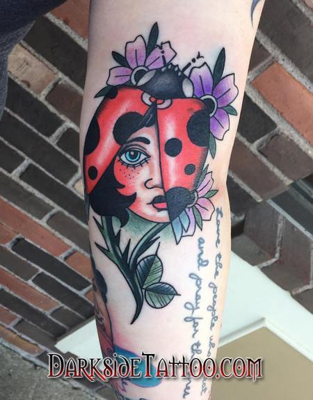 Nature Animal Ladybug - Color Traditional Ladybug Tattoo