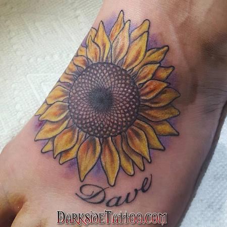 Body Part Foot - Color Sunflower Tattoo