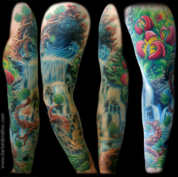 Tattoo Galleries: Waterfall Sleeve Tattoo Design