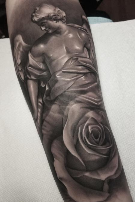 tattoos/ - Black and Grey Angel Tattoo - 130637