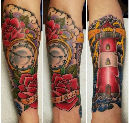 tattoos/ - Lighthouse and Pocketwatch - 131464