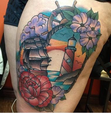 Flower - Lighthouse Ship Tattoo
