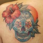 Tropical Sugar Skull Tattoo Tattoo Design Thumbnail