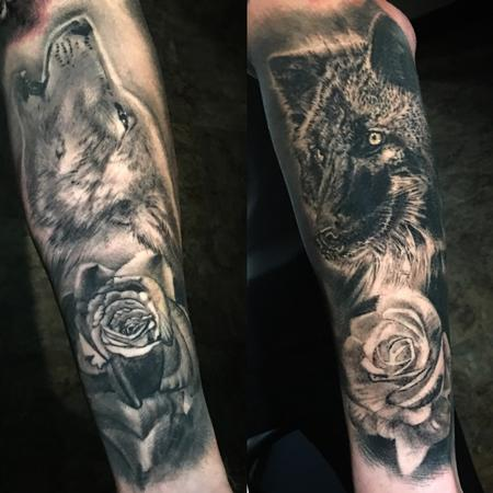 tattoos/ - black and grey wolves and roses tattoo - 130640