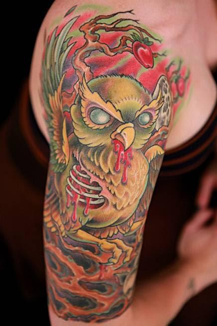 tattoos/ - Color Tree and Evil Owl Tattoo - 115643