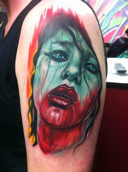 Evil - Color Zombie Girl Tattoo