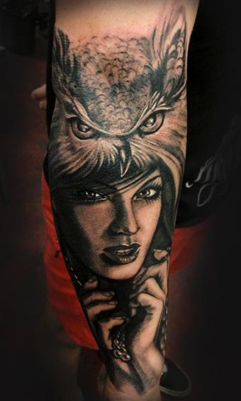 tattoos/ - Owl & Lady - 78094