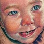 In Progress Baby Portrait Tattoo Design Thumbnail