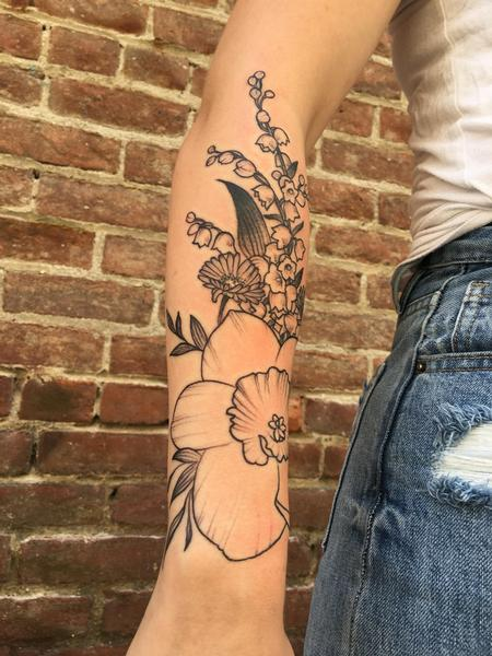 tattoos/ - Narcissus, Aster, and Lilly of the Valley  - 129956