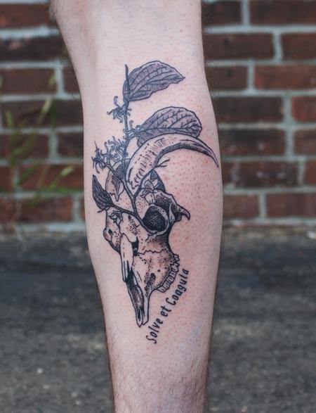 tattoos/ - Black Goat Skull with Witch Hazel Tattoo on Calf - 130449