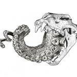 Art Galleries - Lion skull with octopus tentacle ink drawing - 129202