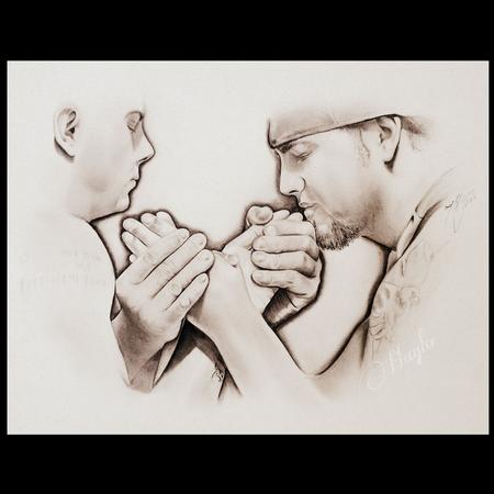 Art Galleries - Pencil Graphite drawing of two arm wrestlers, Scott Warren vs AJ Warren  - 100236