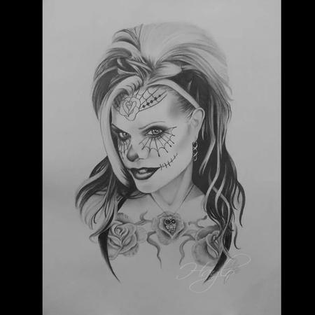 Art Galleries - Seld Portrait of Tattoo Artist Haylo in pencil graphite as a