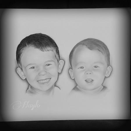 Art Galleries - Realistic drawn portraits of two young boys. Medium: Graphite - 109138
