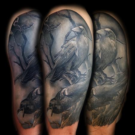 tattoos/ - Black and gray realistic style ravens half sleeve - 133176