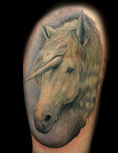 tattoos/ - Realistic style full color Unicorn Thigh piece - 133177
