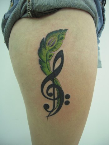 tattoos/ - Note and Feather Tattoo - 51912