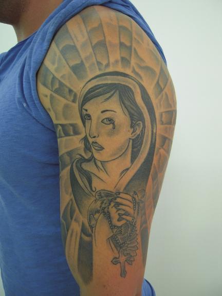 tattoos/ - Black and gray Mary Tattoo - 51914