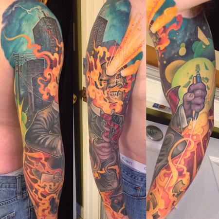 tattoos/ - Crazy fullcolor tattoo sleeve skyline laser skull - 99189