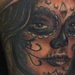 Aztec style Day of the Dead girl Tattoo Design Thumbnail