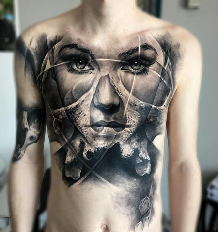 tattoos/ - Celestial Woman Chest Tattoo - 115846
