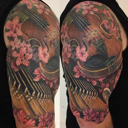 tattoos/ - Music and Floral Half Sleeve - 130862
