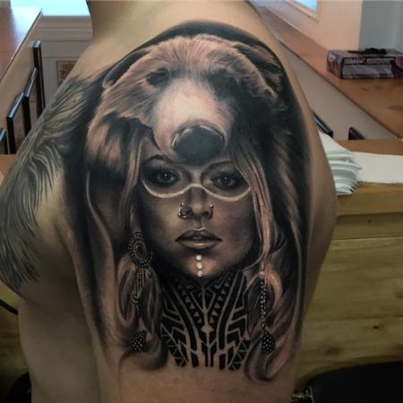 tattoos/ - Woman wearing bear headdress - 129078