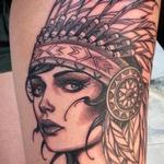 Indian girl with headdress Tattoo Design Thumbnail