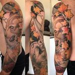 finsihed bear, wolf, and nature sleeve Tattoo Design Thumbnail