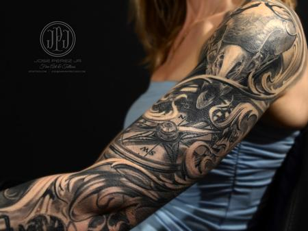 tattoos/ - Bird Skull, Compass & Nature Sleeve - 127897