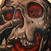 Skull tattoo with red glow Tattoo Design Thumbnail