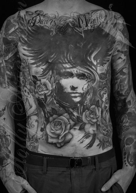 Archive - Raven and roses chest and abdomen coverup