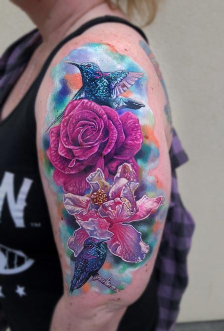tattoos/ - Rose, Hibiscus, Hummingbirds - 132453