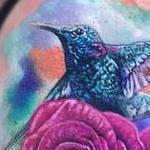 Rose, Hibiscus, Hummingbirds Tattoo Design Thumbnail