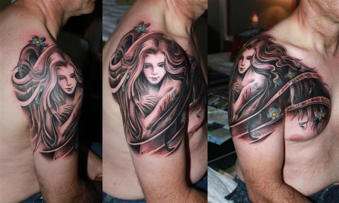 tattoos/ - Flowing Girl Tattoo - 49575