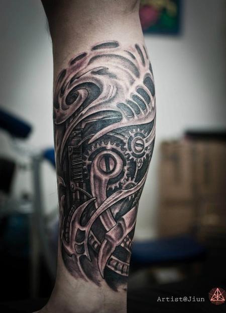 tattoos/ - Bio-Mechanical Black and Grey Tattoo - 60501