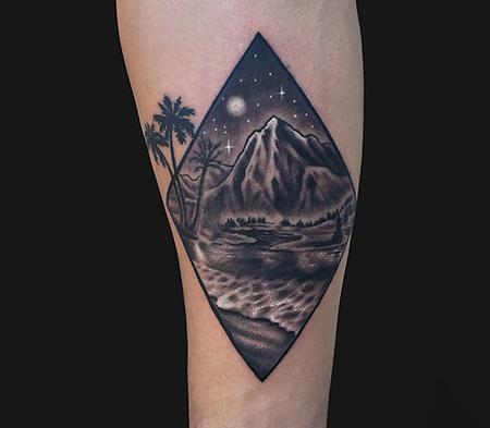 Blackwork - Geometric Landscape tattoo