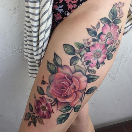 tattoos/ - Floral Thigh tattoo - 132331