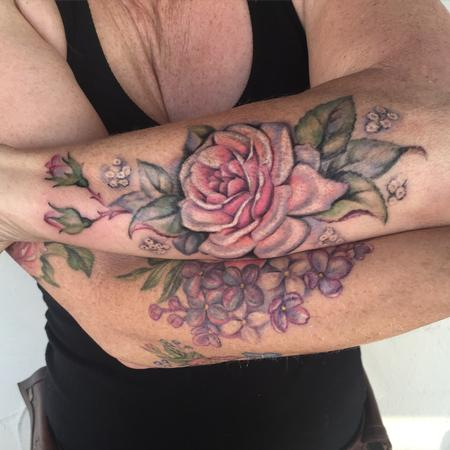Flower - Roses and lilacs partial sleeve