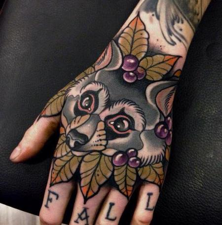 tattoos/ - Neo Traditional Racoon Tattoo - 130972