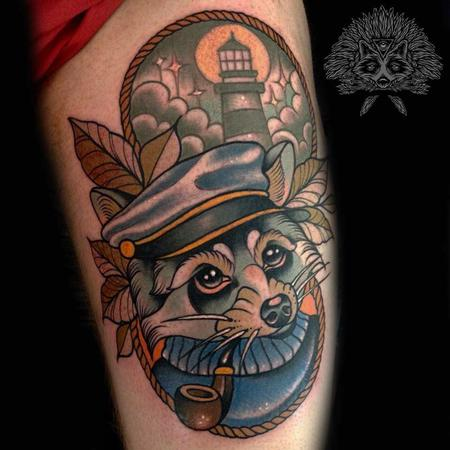 tattoos/ - Neo Traditional Nautical Racoon Tattoo - 130973