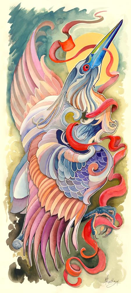 Art Galleries - tri color heron  - 99584