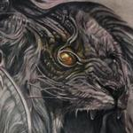 tattoo galleries/ - Bio Mechanical Roaring Lion Chest Tattoo