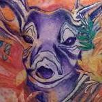 Watercolor elk Tattoo Design Thumbnail
